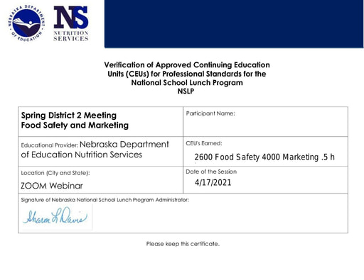 NSNA District Meeting Certificate District 2 Zoom 10 17 2021